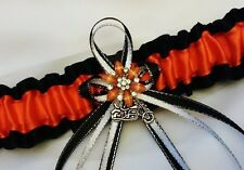 Black Orange Motorcycle Charm GARTER Belt Bridal PROM Wedding Teen Biker Harley