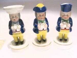 3/EARLY CHELSEA GOLD ANCHOR PORCELAIN COLBALT BLUE TOBY JUG FIGURINES