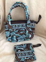Vera Bradley Girls Purse Java Blue Bitty Betsy Bag & Tri-fold Wallet EUC