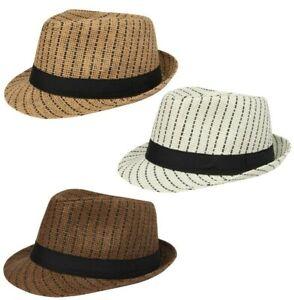 Straw Trilby Sun Hat Mens Ladies Womens Summer Panama Designer Fedora Beach NEW
