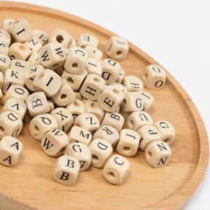 50 Letter Beads Alphabet Beads Wood Assorted Lot BULK Wholesale 10mm Cube