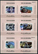 274/SPACE RAUMFAHRT 1972 Ras al Khaima Apollo XIV 708-13 Einzelblocks Rosa MNH