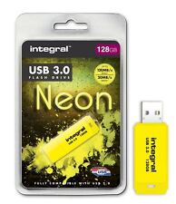 Integral 128GB Neon USB 3.0 Flash Drive in Yellow, up to 10X Faster Than USB 2.0