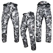 Motorbike Motorcycle Waterproof Cordura Textile Trousers Pants Armours Grey Camo