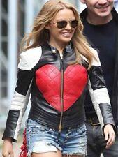 Kylie Minogue Valantine Black White & Red Heart Slim Fit Leather Jacket