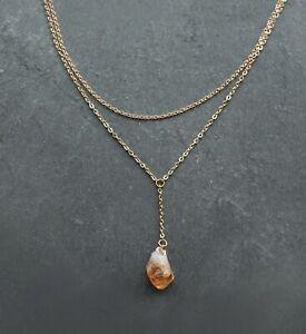 Citrine Crystal Gold Necklace, Quartz Birthstone Gift, Layer Chain, Boho Jewelry