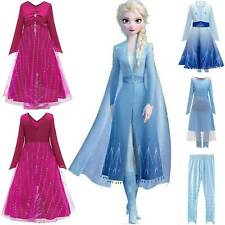 Kid Girl Queen Elsa Cosplay Costumes Party Fancy Dress Pants Clothes Outfits