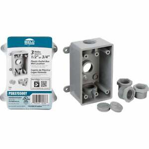 Bell Single Gang 1/2 In.,3/4 In. 3-Outlet Gray PVC Weatherproof Outdoor Outlet