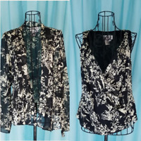 Adrianna Papell Two Piece Black Silk Beaded Jacket & Shell Size 6 New With Tags