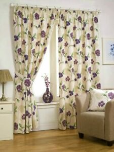 """CREAM LILAC FLORAL BOUQUET 90""""x54"""" HEAVY QUALITY TAPE TOP READY MADE CURTAINS"""