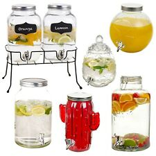 4 - 8 Litre Glass Beverage Drink Dispenser Jug Jar Lid Juice Cocktail BBQ Summer