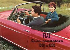 Fiat 1200 & 1500 Spider Roadster 1959-60 USA Market Foldout Brochure Cabriolet