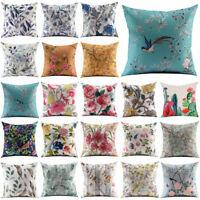 "Vintage Flower Cotton Linen Throw Pillow Case Sofa Cushion Cover Home Decor 18"""