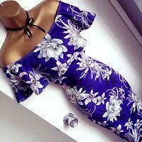 Summer Floral Bardot Evening Midi Bodycon Party Pencil Wiggle Stretch Dress