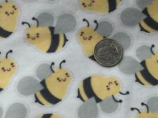 Fabric Bumblebees Bees Yellow Gray on Off White Flannel 1 Yard S