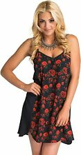 2016 NWT WOMENS METAL MULISHA LITHIUM DRESS $44 S black red roses polyester