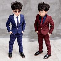 2PCS Suit Baby Boys Kids Blazer Formal Suit For Wedding Jackets Blazer+Pant 3-8Y
