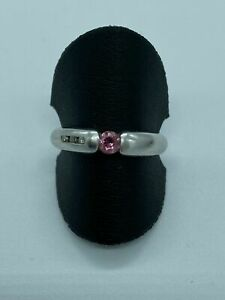 Ring Weißgold 585 mit Diamanten und roter Stein gepunzt Stempel