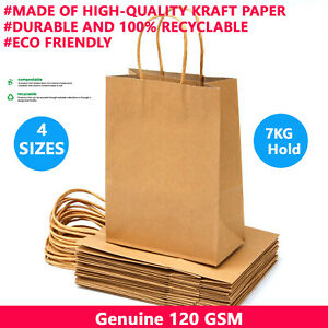 Brown Kraft Paper Bags Craft Gift Shopping Bag Carry Bag With Twist Handles