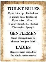 Toilet Rules Bathroom Decor STICKER Decal Sign - Rustic Country Wood FUNNY HUMOR