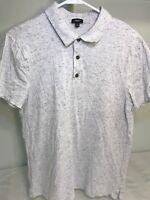 Vince Golf Polo Shirt Size L Heather Gray Short Sleeve Cotton Modal Free Shippin