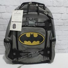 "Pottery Barn Kids SMALL Superhero BACKPACK boys Gray & Black BATMAN ""Blake"""