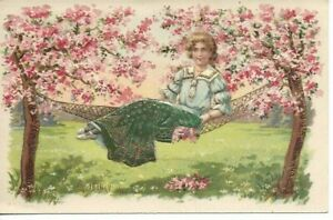 Lady Sitting on Hammock, Cherry Blossoms - Gilded & Embossed, Unposted