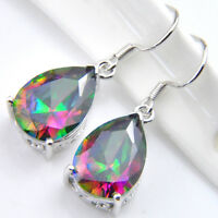 Gorgeous Shiny Natural Rainbow Mystic Topaz Gems Silver Dangle Drop Earrings