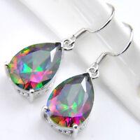Mother's Day Jewelry Rainbow Mystic Topaz Gems Silver Dangle Hook Earrings