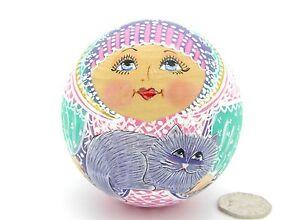 "Wobbly Doll Bell Ring Matryoshka Russian BALL doll Pink Lilac 4"" Sidorova"