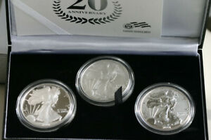 2006 American Silver Eagle 20th Anniversary 3 Coin ASE Set OGP with COA $1