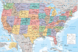 USA Map Educational Maps Maxi Poster Print 61x91.5cm | 24x36 inches