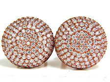 █$15000 5.50CT DIAMONDS CLUSTER DOMED BEAD SET BUTTON PUFFED CLIP EARRINGS G/VS