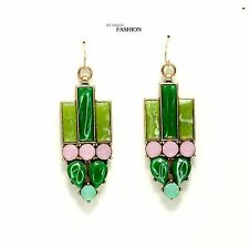 earrings Art Deco Jade Green Imi Purple Retro Vintage Antique AA 11