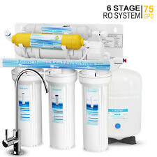 6 Stage Undersink Reverse Osmosis Water Filter System with Mineral Filter 75 GPD