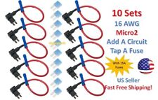 10x MICRO2 Add-A-Circuit Fuse Taps Holder 16 AWG Gauge Car Auto Truck +15 Amp