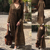 ZANZEA Women Leopard Printed V-Neck Maxi Shirt Dress Causal Long Sleeve Kaftan