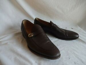 GUCCI Mens Brown Leather Loafers GG Shoes UK 9