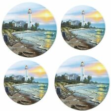 Light House Electric Stove Burner Cover 4 Pack Round Kitchen Range Decor Tin New