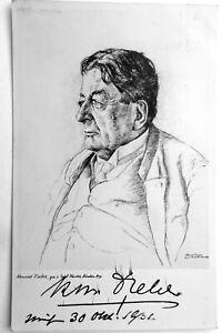 Autograf Konrad DREHER Porträt-Postkarte nach Ernst Haider 2 Signaturen 1932