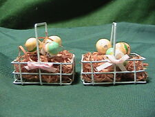 Small metal Wire Baskets With Handles and egg For Easter lot of two ornaments