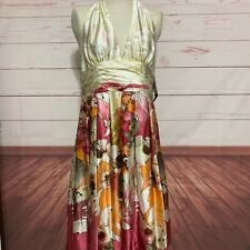NWT Adrianna Papell pink peach SILK cocktail formal dress $170 size 16 halter