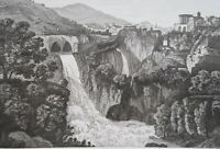 1830s VIEW TIVOLI Aniene River Waterfall Italy - Antique Print Copperplate
