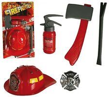 Children's Kids Plastic Fire Fighter 5pc Outfit Set Role Play Costume Accessory
