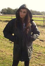 English Mens Ladies Wax Cotton Padded Jacket Coat Green XS S M L XL - 5xl XXS