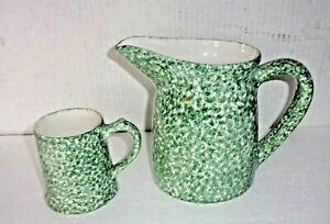 Los Angeles Pottery Green Spongeware Pitcher & Matching Mug