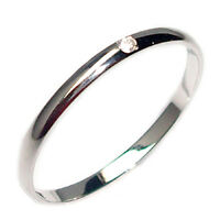 Anello fedina da donna in oro bianco 18 kt fede per fidanzamento con diamante