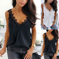 Women Summer Lace V Neck Casual Sleeveless Vest Tops Ladies Loose Blouse T-Shirt