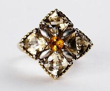 """Lady's Lagos """" Caviar"""" 18K Yellow Gold & Sterling Silver Citrine Ring"""