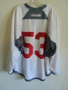 PHOENIX COYOTES Derek Morris white #53 Reebok practice jersey from 2014 (LOA)